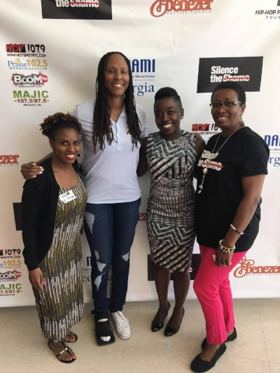 Dr. Abrams (Atlanta based psychologist), Chamique Holdsclaw (former WNBA athlete, author & mental health advocate), Dr. Sarah Vinson (Atlanta based psychiatrist) & Pat Strode, NAMI Georgia member