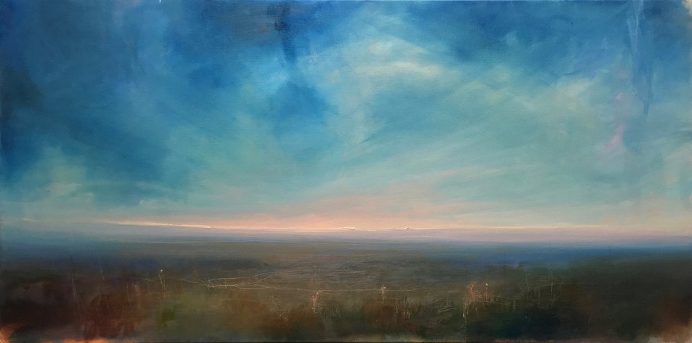 """Where We Begin , oil on canvas, 15 x 30"""""""