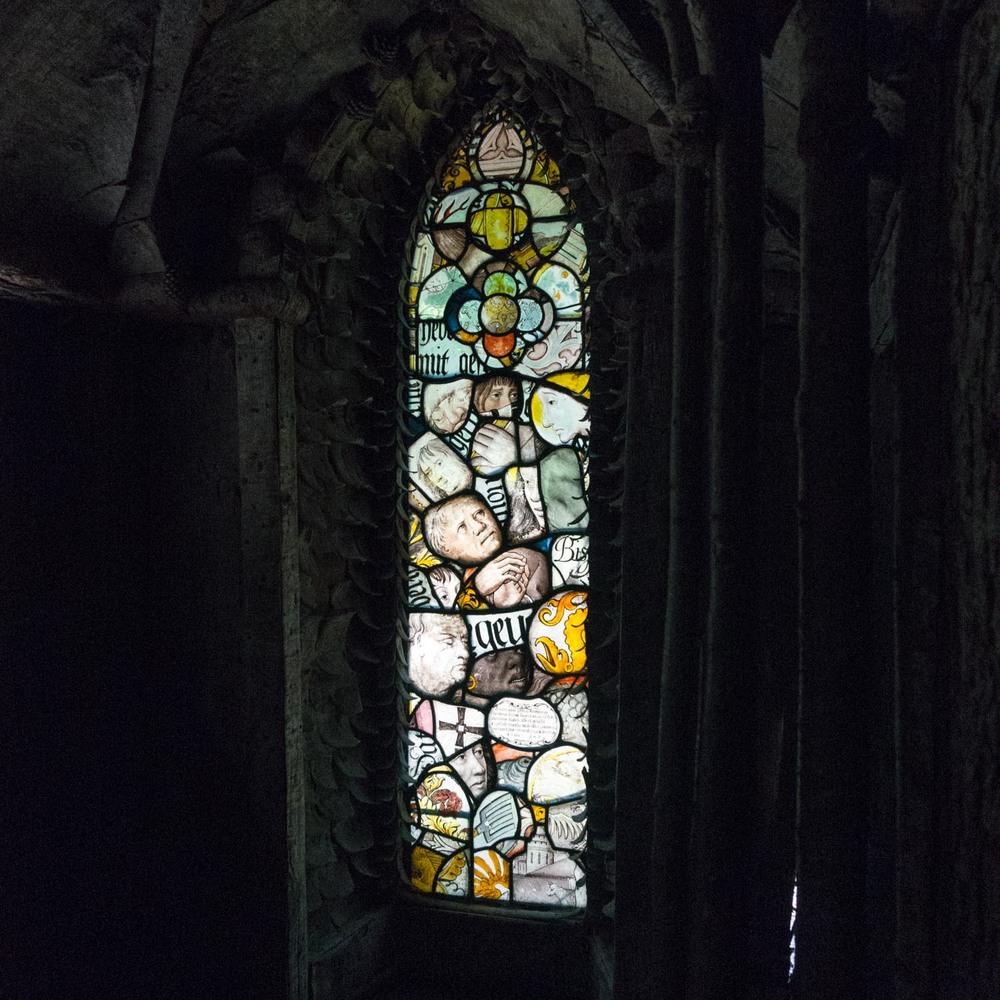 The stained glass window inside the Bear Hut