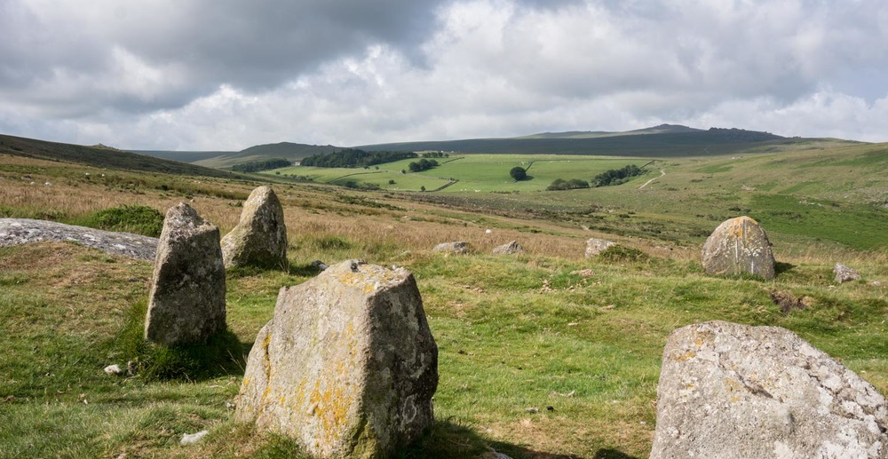 Part of the Nine Maidens stone circle in Belstone Tor, Dartmoor.