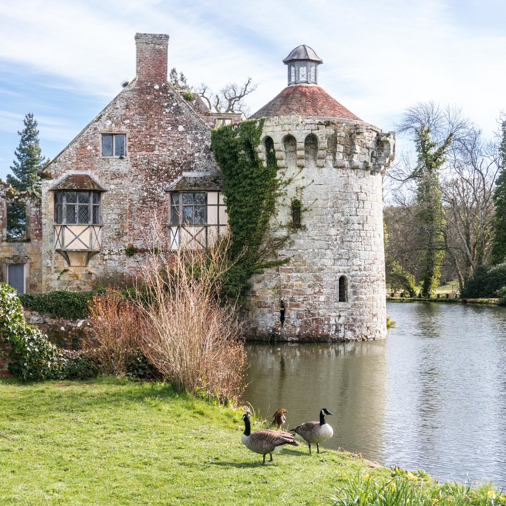 The old castle was partly broken up after the new castle was built, and remains a lovely crumbling garden feature.