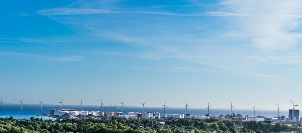 The view over to the wind turbines. Denmark has the highest proportion of wind turbines in the world and produces almost half of its electricity from them. Go Denmark!