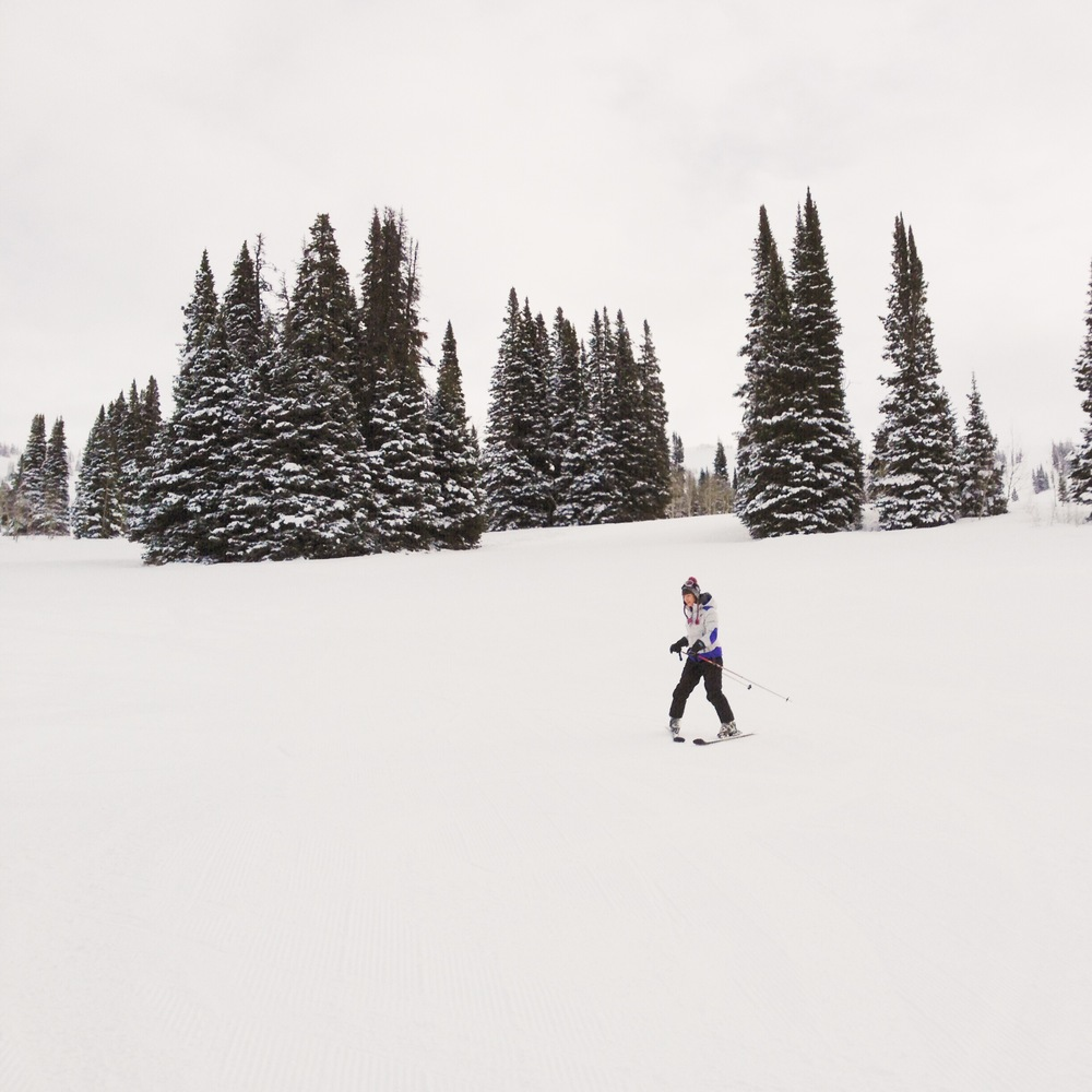 Beginner skiing form on a green trail at Grand Targhee