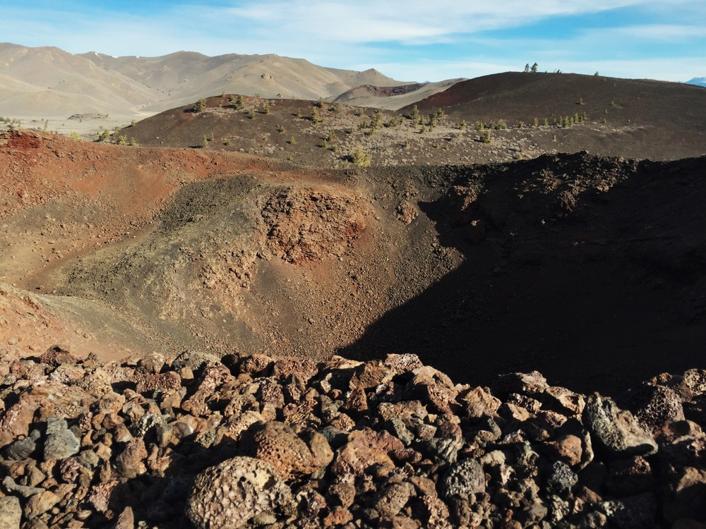 A crater and volcanic rocks in Craters of the Moon