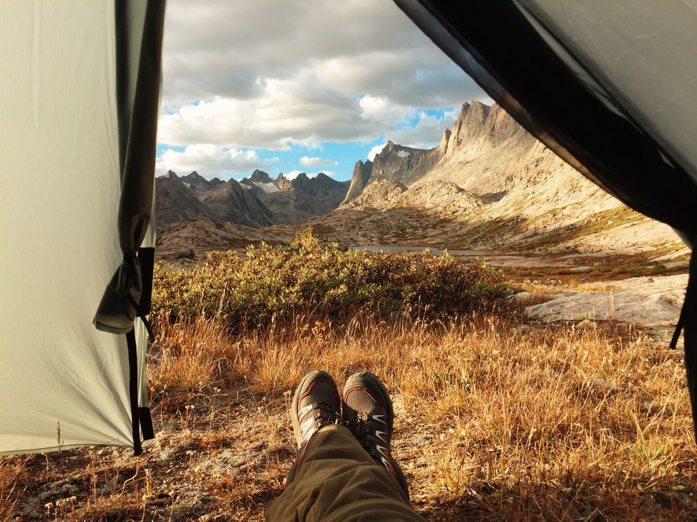 The view from my tent in Titcomb Basin