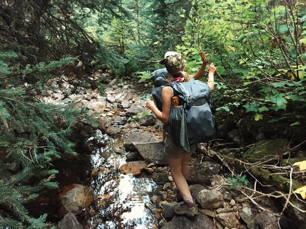 Bushwhacking through a wilderness creek