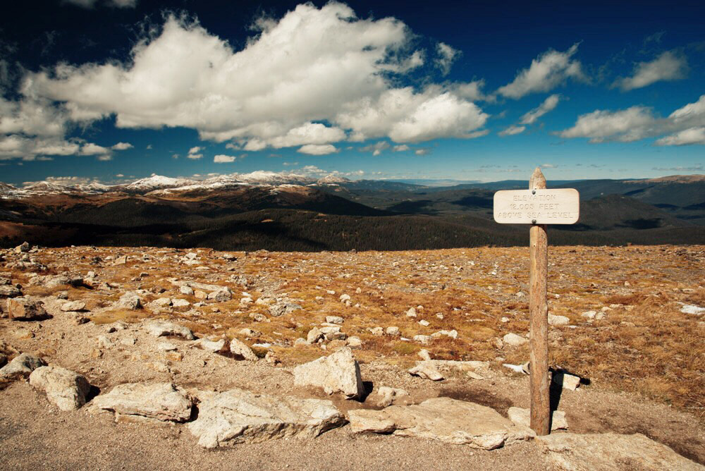 Elevation 12,005 feet above sea level in Rocky Mountain National Park, Colorado