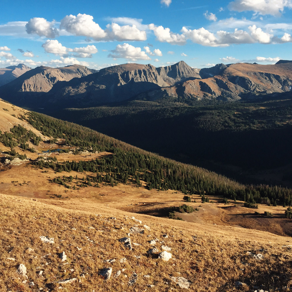Mountains and alpine tundra in Rocky Mountain National Park, Colorado