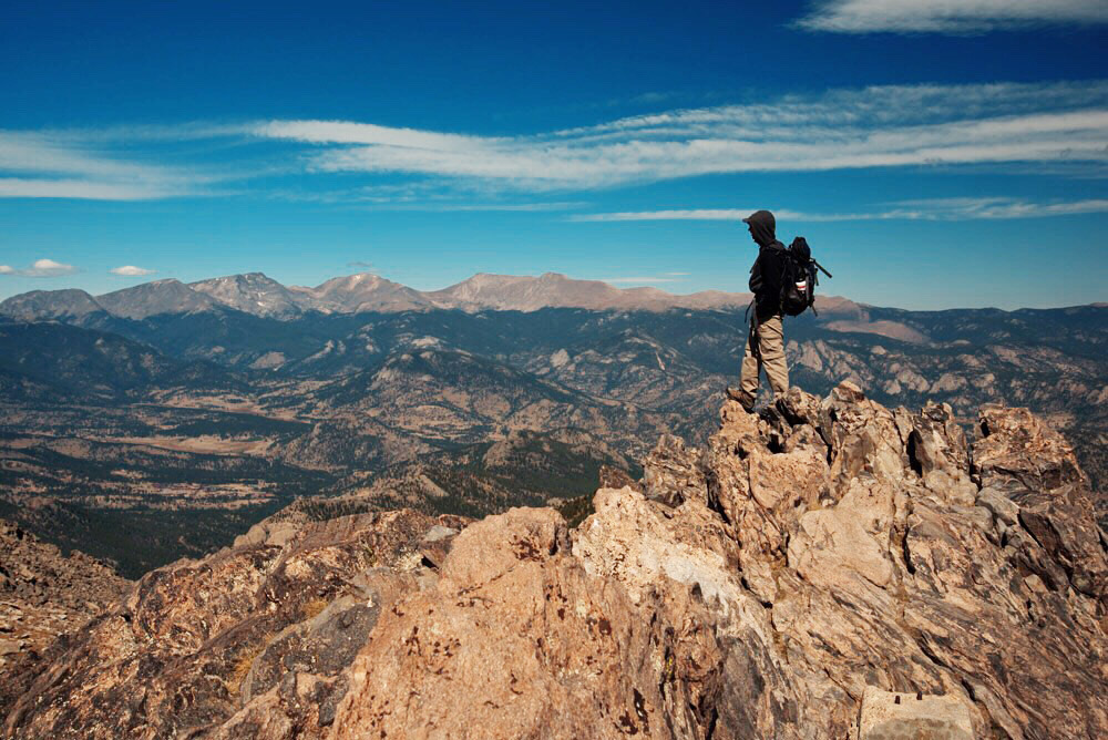 View from the summit of the  Twin Sisters hike in   Rocky Mountain National Park, Colorado