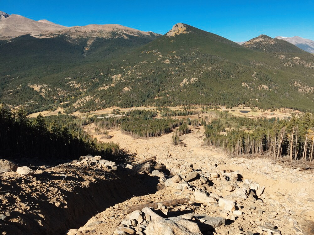 Remains of the mud slide on the Twin Sisters hike in Rocky Mountain National Park, Colorado