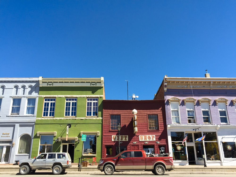 Colorful historic buildings on the main street in Leadville, Colorado.