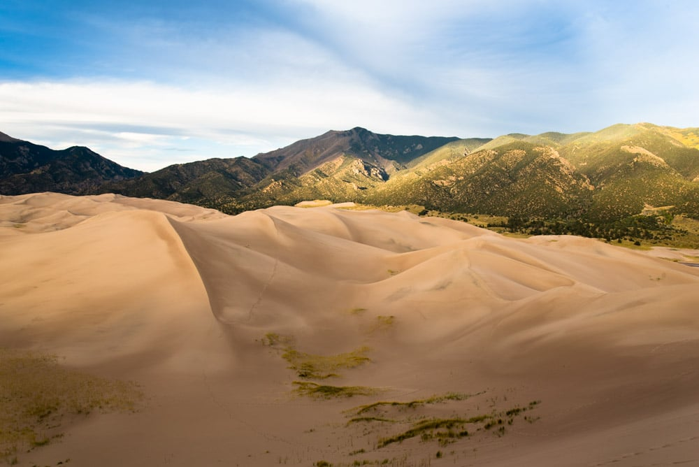 Great Sand Dunes framed by the Sangre de Cristo Mountains