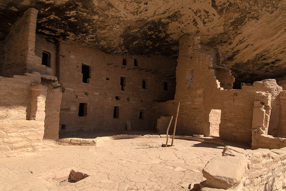 Spruce Tree House, the third largest and best preserved cliff dwelling in Mesa Verde. Circa 1200-1280 AD.