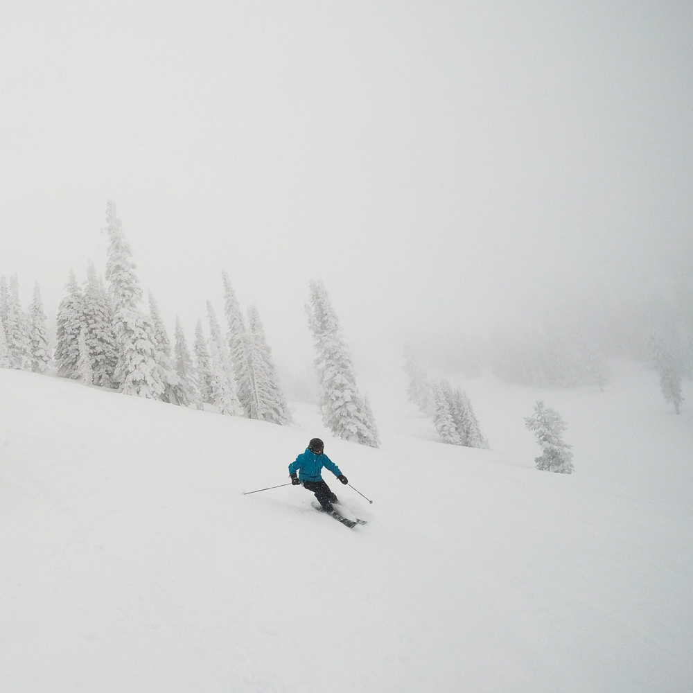 powder day skiing at Grand Targhee