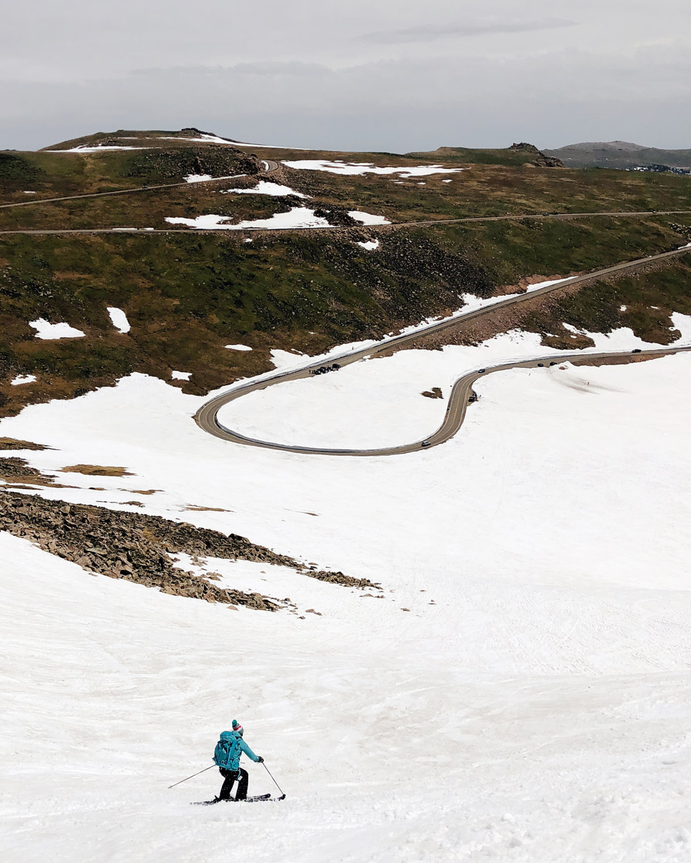 backcountry skiing down from Reefer Ridge on the Beartooth Highway
