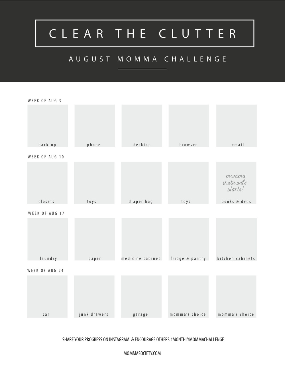 30 Day Guide to Clearing the Clutter | Momma Society-The Community of Modern Moms | www.mommasociety.com | Join our party on Instagram @MommaSociety
