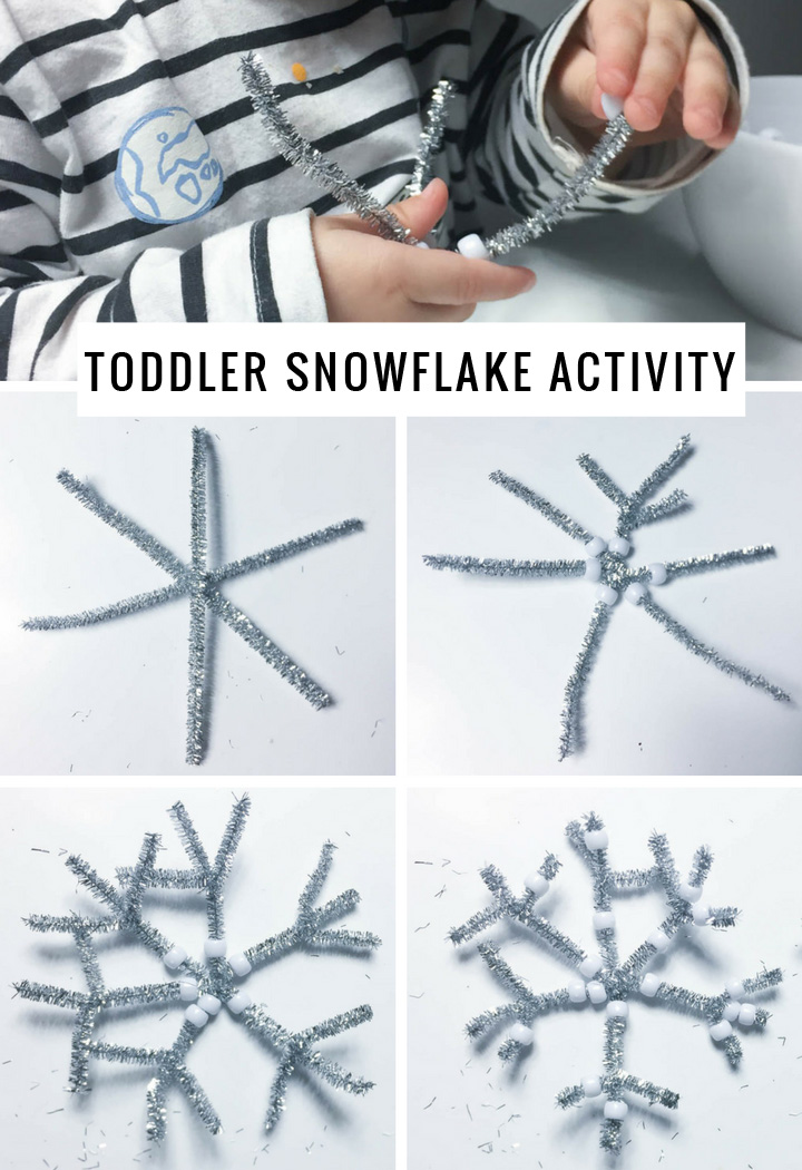 A Super Simple Toddler Holiday Craft Activity For Preschool | Pipe cleaner pony bead snowflakes | Momma Society-The Community of Modern Moms