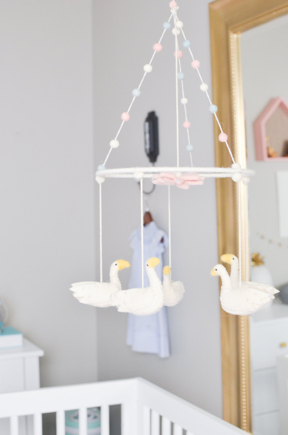 Pink Gold Blue Swan Baby Girl Nursery Ideas Nursery Design