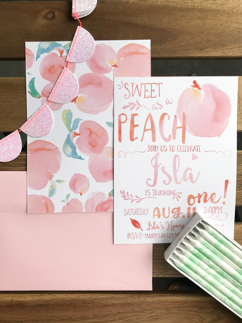 peach themed first birthday invitations