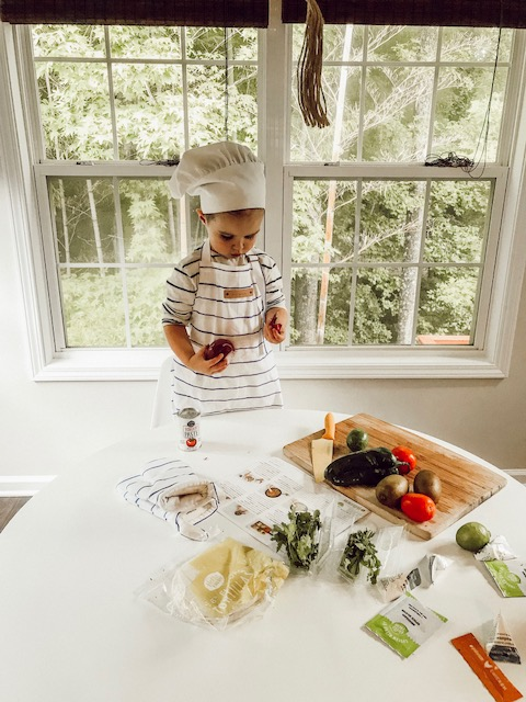 Toddler Cooking In Kitchen Apron