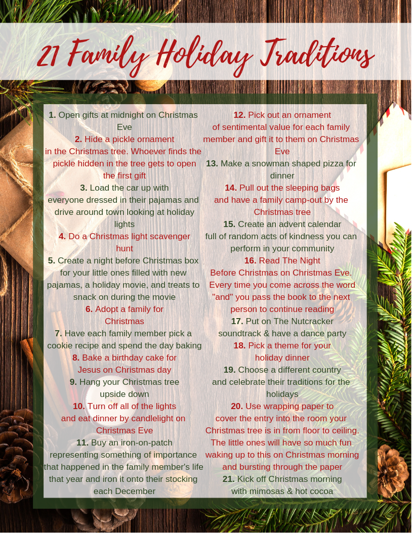 List of 21 family Holiday traditions