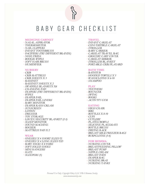 baby gear checklist -