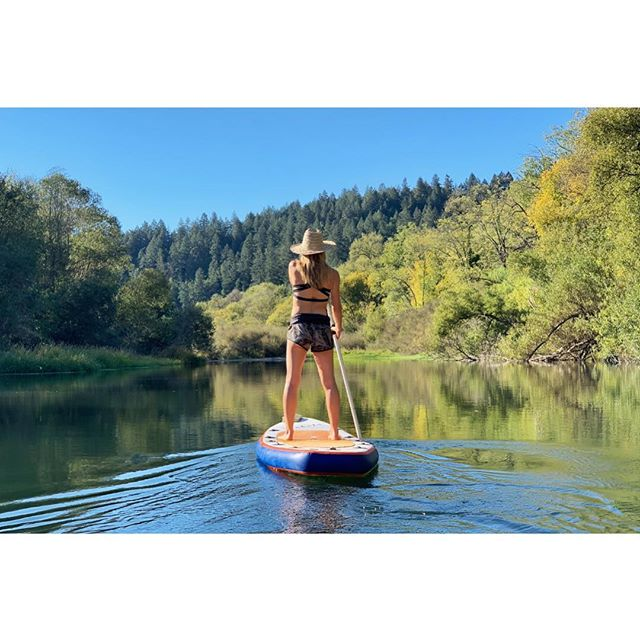 Making the most of my two days home with the #germanguapa. Really digging our water therapy. Can't beat this view.  Work's been tipping the scale these day. And although I truly love where I'm going, it's always tough leaving. Days like these are priceless. #russianriver #SUPing #iphonexs