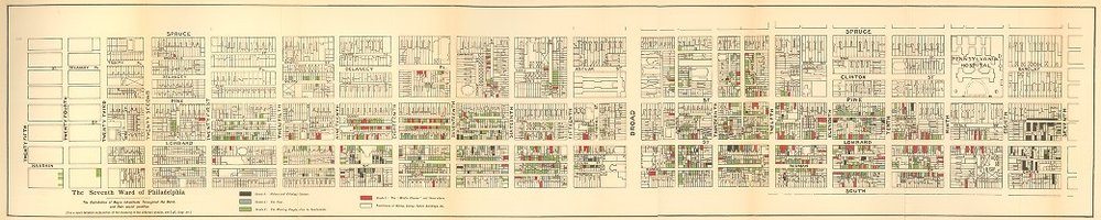 PHILADELPHIA'S 7TH WARD / HAND DRAWN MAP BY W E B DUBOIS