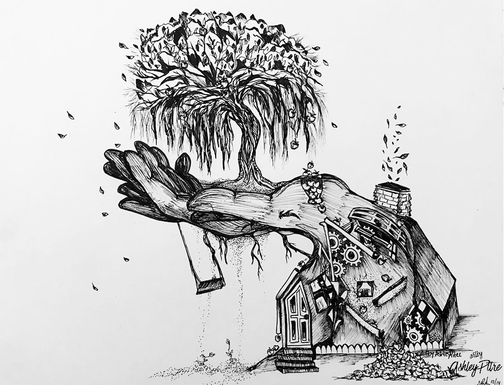 Black and white ink art by ashley pitre