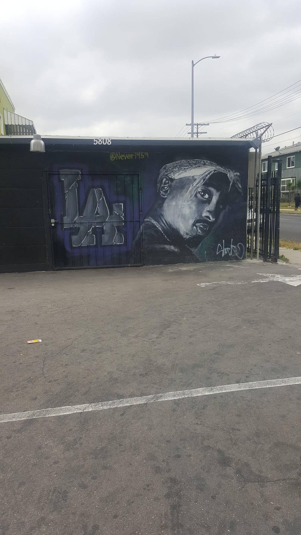Tupac get love in every part of California. Dope piece by @never1959 in South Central, LA.