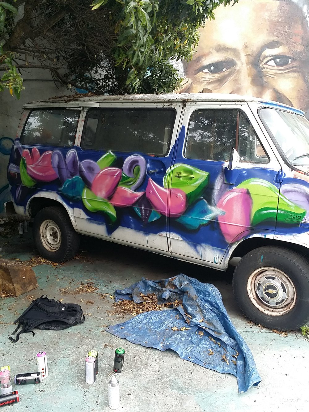 2015- Experimenting with spraycans on a van