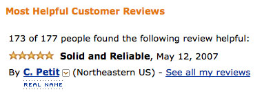 Screenshot of Amazon reviews