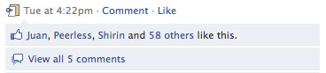 Screenshot of Facebook like feature