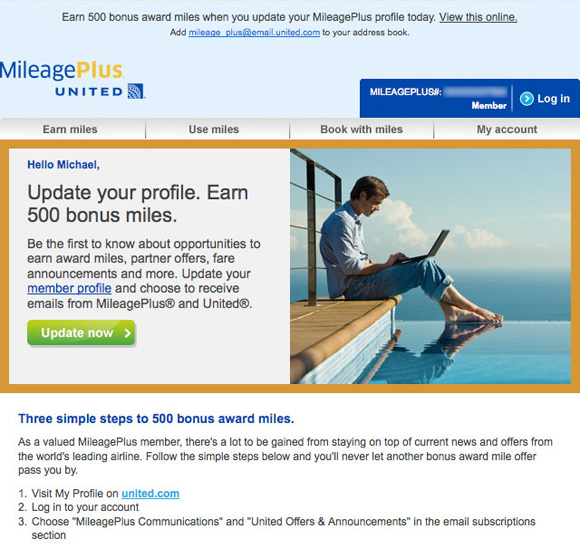 Screenshot of United Mileage Plus Email Notification