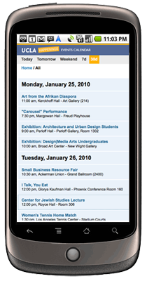 Screenshot of UCLA Happenings website on a mobile phone