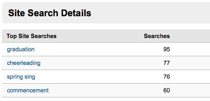 Screenshot of Site Search on Google Analytics