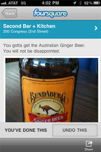 Screenshot of Foursquare