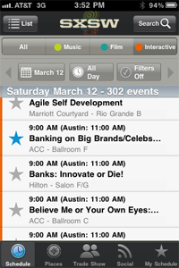 Screenshot of SXSW schedule