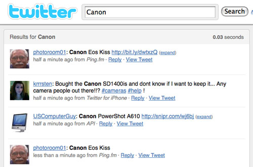 Screenshot of Canon keyword search on Twitter