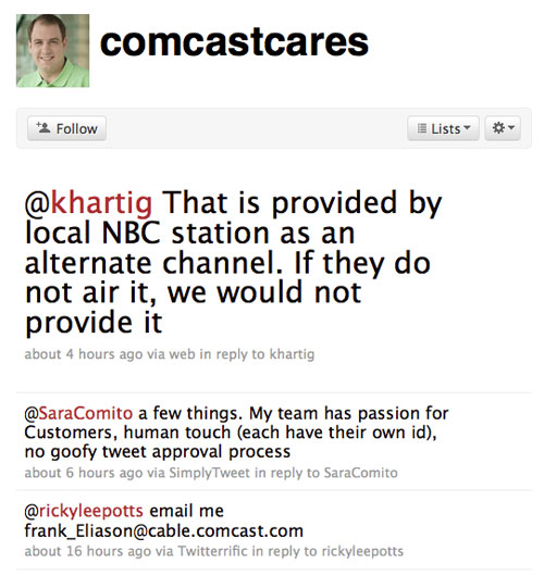 Screenshot of Comcast on Twitter