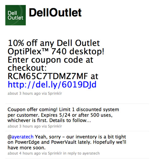 Screenshot of Dell Outlet on Twitter