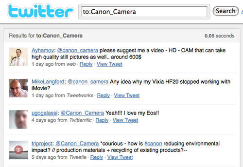 Screenshot of Canon search on Twitter