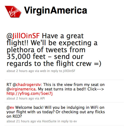 Screenshot of Virgin Airlines on Twitter