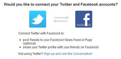 Screenshot of connecting Twitter and Facebook accounts