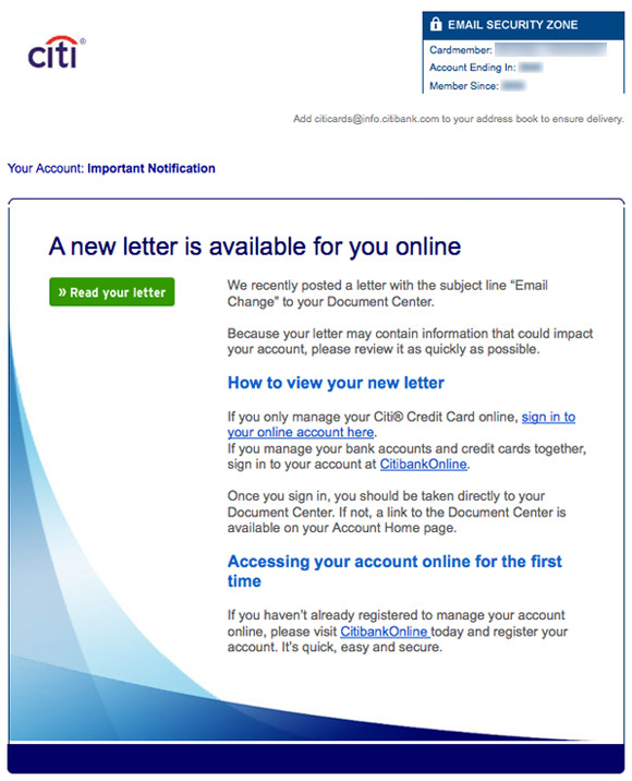 Citi email confirmation