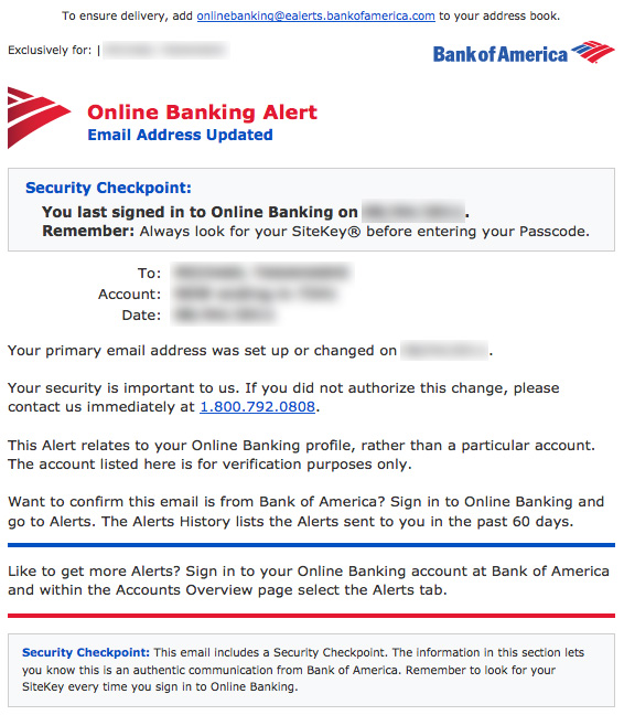 Bank of America email confirmation