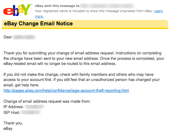 Ebay email confirmation
