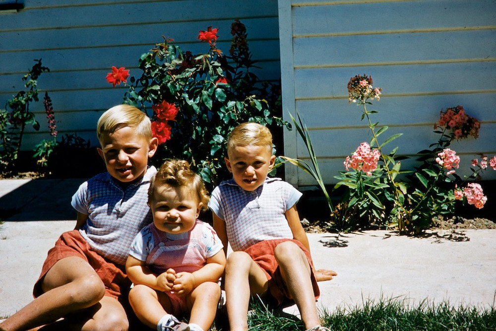 Peter on the right with Brother Rob and Sister Jen. Kodachrome slide 1956