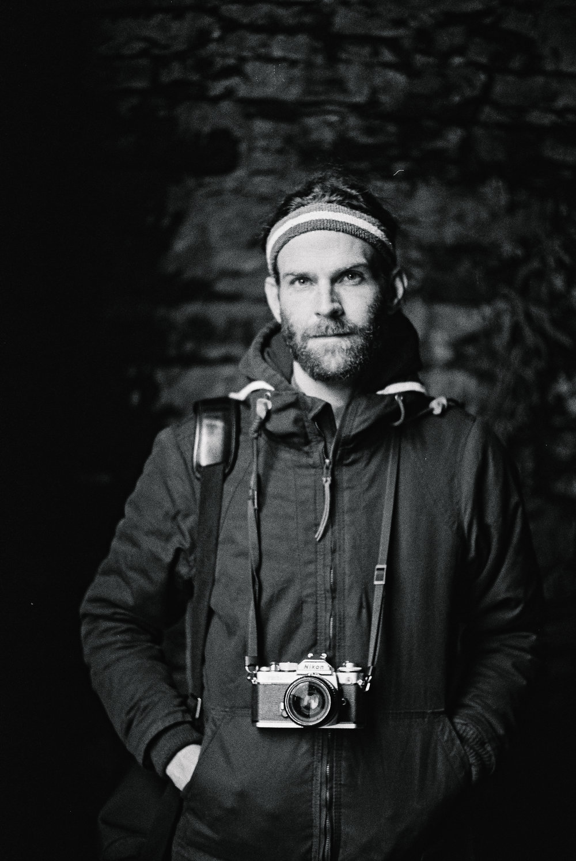 Ryan in a mausoleum.Kodak black and white film, Leica M3