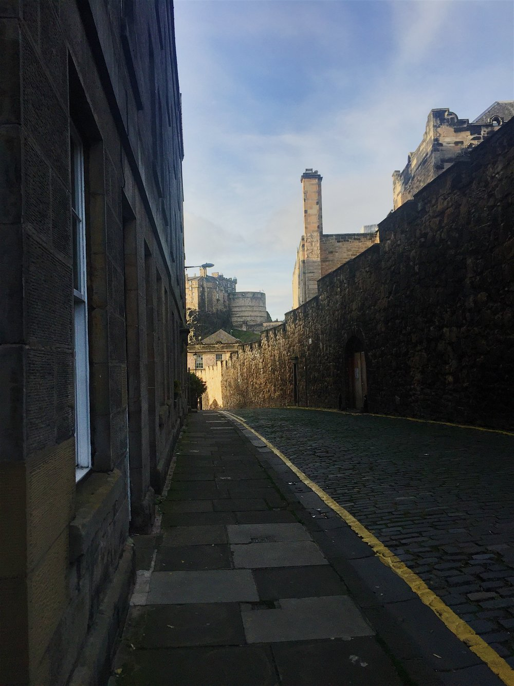 The flodden wall with the castle in the background, one of the ways I can take to school. iPhone